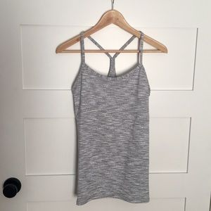 Lululemon Y back space gray tank size 8